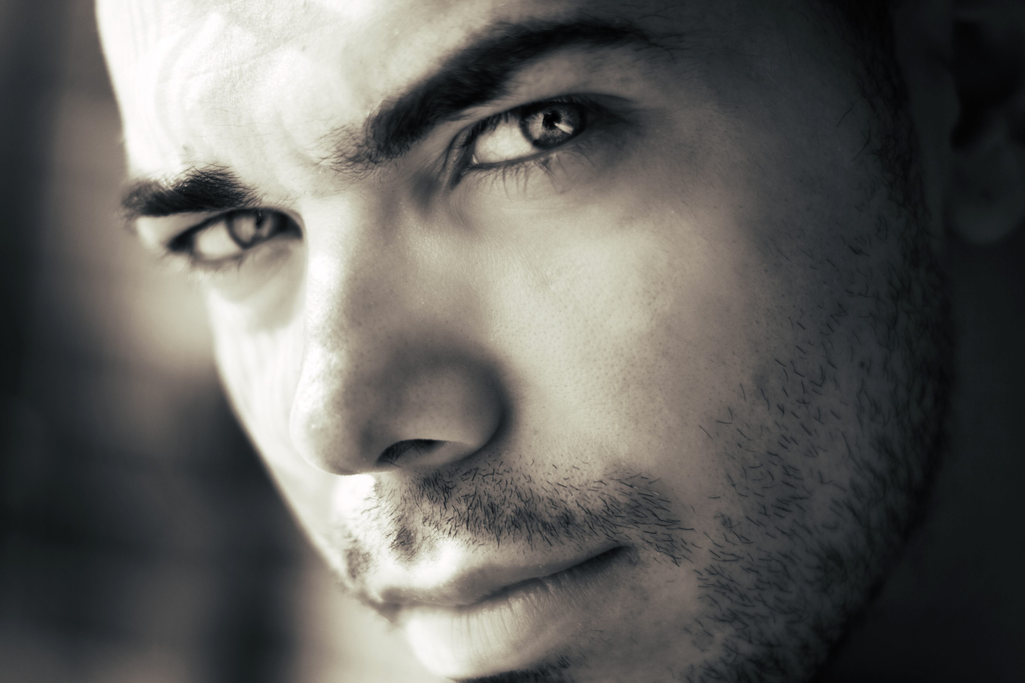 black and white man person eyes